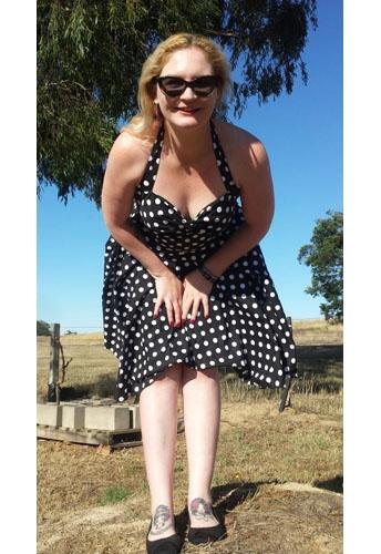 Belted Polka-Dot Flare Dress