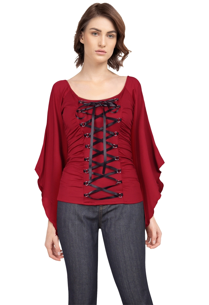 Stretchy Lace-Up Gothic Corset Jersey Top