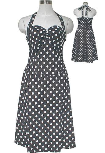 Black 50&#39;s Style Rockabilly Polka-Dot Halter Dress