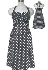 50's Style Rockabilly Polka-Dot Halter Dress