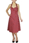 50's Style Rockabilly Polka-Dot Halter Dress