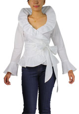 Flounce Ruched Ruffle Wrap Belt Boho Shirt