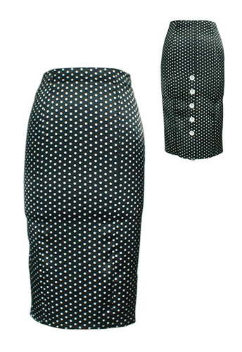 Black Sexy Polka Dot High-Waist Pencil Skirt