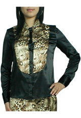 Leopard Print Tuxedo Shirt Top