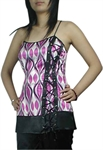 Lace-Up Gothic Corset Printing Tunic Top