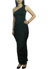 One-Shoulder Goddess Ruched Long Dress