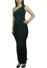 One-Shoulder Goddess Ruched Long Dress