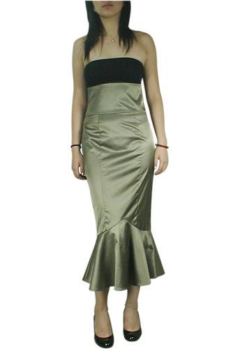 Bronze Pin-Up High-Waist Fishtail Skirt