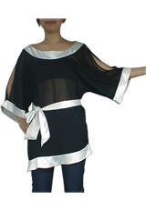 Asymmetrical Chiffon Kimono Tunic Top