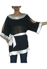 Asymmetrical Chiffon Kimono Tunic Top