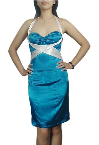 Teal Lace-Up Corset Straps Halter Pencil Dress