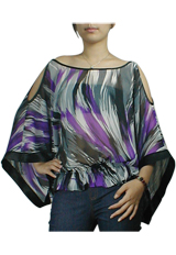 Off-Shoulder Kimono Style Chiffon Top