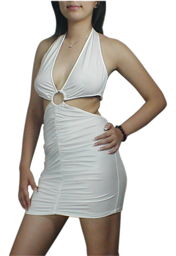 White Sexy Club Clubbing Halter V-Neck Mini Dress
