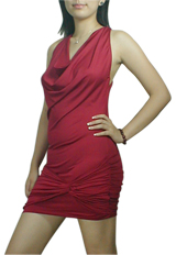 Knot Cowl Ruched Mini Jersey Dress