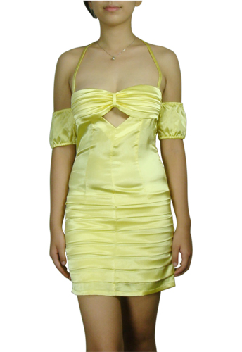 Yellow Sexy Club Cut-Out Off-Shoulder Mini Dress