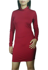 Fitted Turtle-Neck Mini Jersey Dress