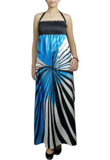 Printing Smocked Halter Maxi Dress