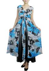 Sexy Flower Chiffon Ruched Maxi Dress