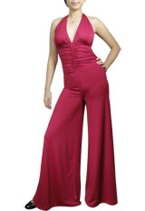 Halter Ruched Wide-Leg Gaucho Jumpsuit