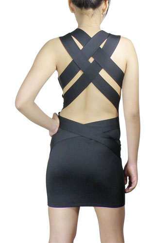 Buy Black Criss-Cross Straps Mini Dress