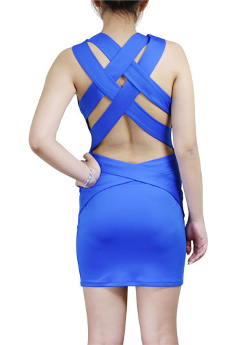 Buy Royal-Blue Criss-Cross Straps Mini Dress