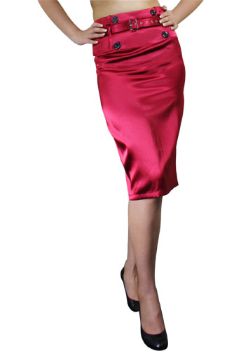 Burgundy High-Waist Belted Satin Pencil Skirt