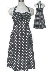 Plus-Size Rockabilly Polka-Dot Halter Dress