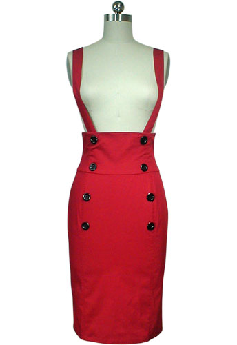 Red Plus-Size High-Waist Suspenders Pencil Skirt