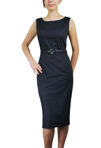 Black Belted Sleeveless Pencil Dress