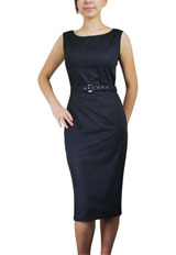 Belted Sleeveless Pencil Dress