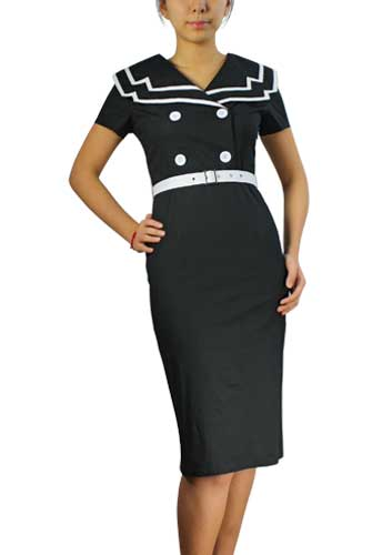 Black Plus-Size Vintage Sailor Pencil Cotton Dress