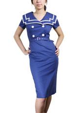 Plus-Size Vintage Sailor Pencil Cotton Dress