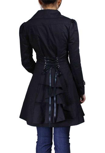 Black Plus-Size Lace-Up Ruffled Jacket