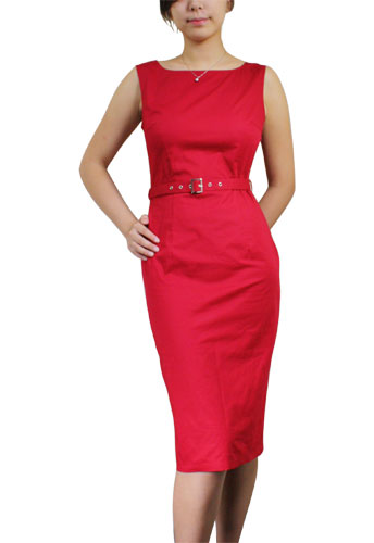 Red Plus-Size Belted Sleeveless Pencil Dress