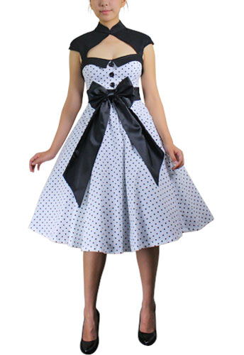 1950's Prom White Polka-dot Dress