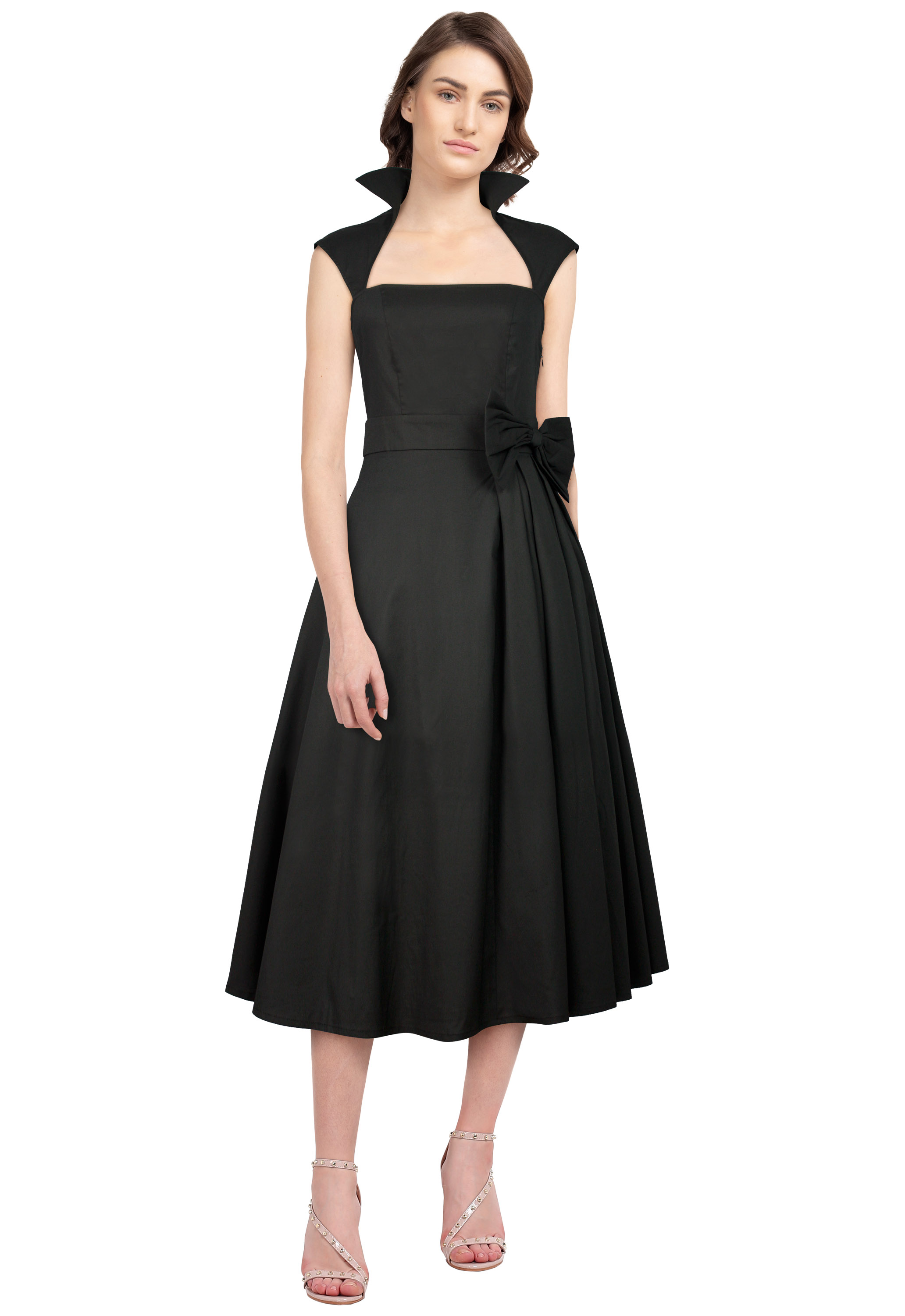 Black Retro Belted Pleat Dress