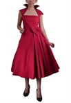 Retro Belted Pleat Dress
