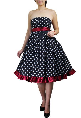 Polka-dot/Red Plus-Size Bowknot Polka-dot Dress