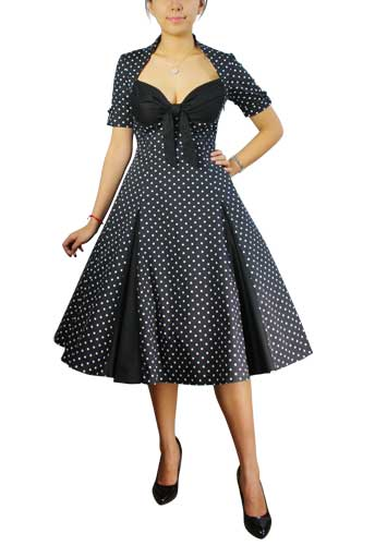 Polka-dot/Black Retro Polka-Dot Swing Dress