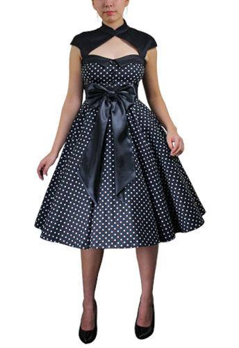 Black Plus-Size Archaize Polka-dot Dress