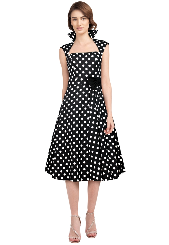 Black Plus size Polka Dot Belted Pleat Dress