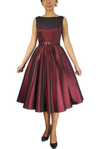 Burgundy Satin Sleeveless Belted Dress