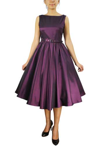 Purple Satin Sleeveless Belted Dress