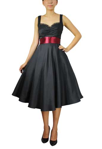 Black Retro Satin Dress