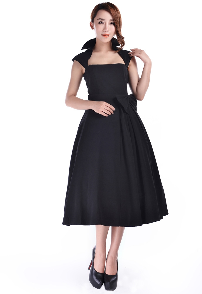 Retro Belted Bow Dress