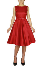 Plus Size Satin Sleeveless Belted Dress