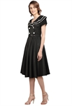 Plus Size Vintage Sailor Flared Dress