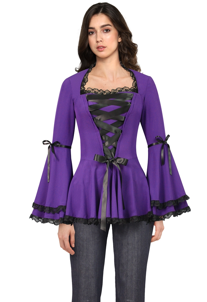 Plus Size Corset Ribbon Lace Top