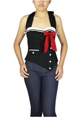 Plus Size Pinup Sailor Corset Blouse