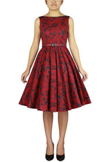 Plus Size Printed Sleeveless Belted Dress